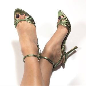 Dior Green Metallic Strappy Sandals